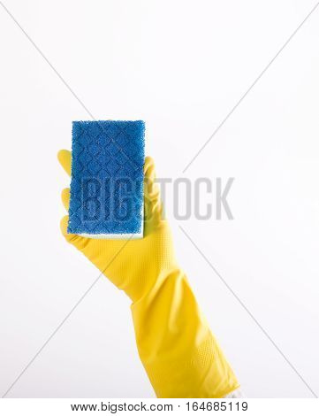 Hand With Gloves Holding Sponge