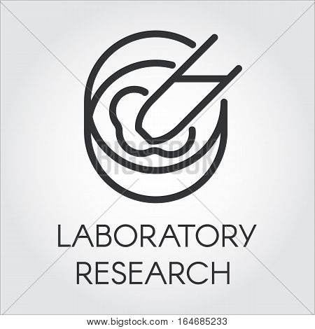 Black symbol of laboratory research and experiments. Pixel perfect icon 48x48 px. Simple black line logo for websites, mobile apps and other design needs. Vector contour pictograph