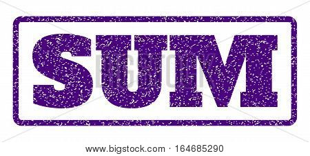 Indigo Blue rubber seal stamp with Sum text. Vector caption inside rounded rectangular shape. Grunge design and unclean texture for watermark labels. Horisontal sign on a white background.
