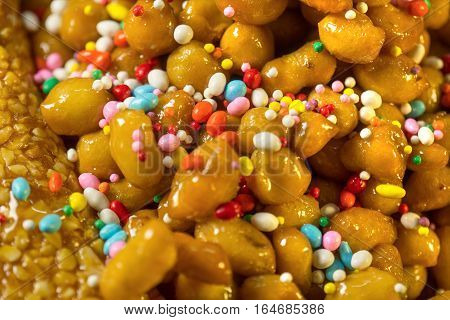 Close up of typical neapolitan christmas sweet called struffoli