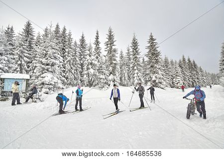 Jakuszyce, Poland - January 06, 2017: Winter Sports Enthusiasts Resting On Trails Intersection. For
