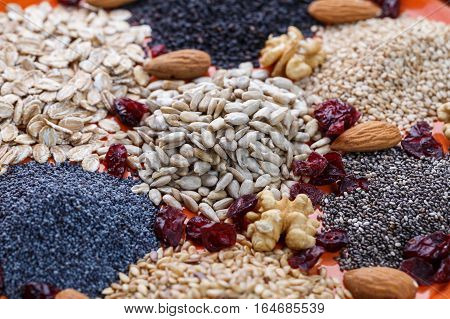 Assortment of fresh dried seeds Used as ingredients in cooking. Sunflower sesame linseed poppy chia nuts rolled oats and Cranberries on plate.