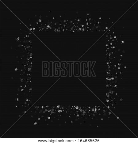 Beautiful Snowfall. Square Abstract Mess On Black Background. Vector Illustration.
