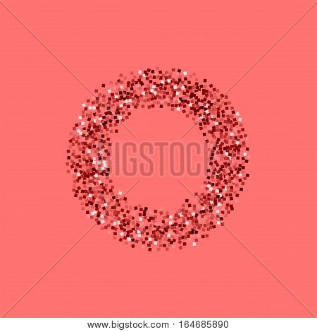 Red Gold Glitter. Smal Bagel On Pink Background. Vector Illustration.