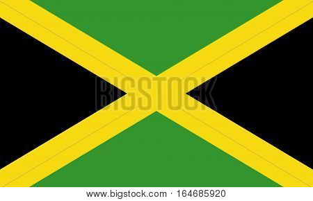 flat jamaican flag  in the colors green, yellow and black
