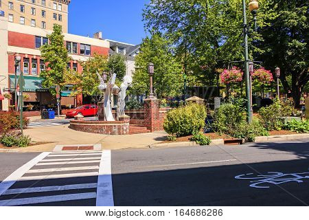 Asheville NC, USA - September 12: Statue in Pritchard Park in downtown Asheville NC