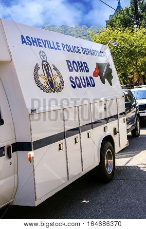 Asheville NC, USA - September 12: Close up of a Bomb Squad vehicle of the Asheville City Police Department NC