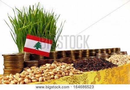 Lebanon Flag Waving With Stack Of Money Coins And Piles Of Wheat And Rice Seeds