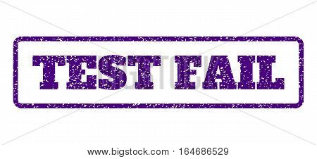 Indigo Blue rubber seal stamp with Test Fail text. Vector message inside rounded rectangular banner. Grunge design and scratched texture for watermark labels. Horisontal sign on a white background.