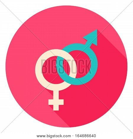Sex Circle Icon. Flat Design Vector Illustration with Long Shadow. Happy Valentine Day Symbol.