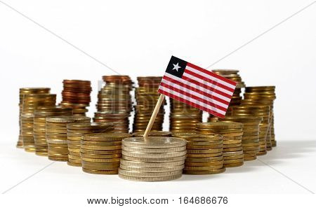 Liberia Flag Waving With Stack Of Money Coins