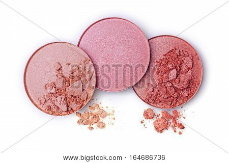 Beige Crushed Blush Or Eye Shadow Isolated On White