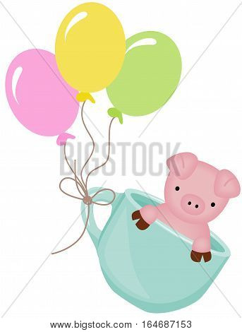 Scalable vectorial image representing a cute pig in teacup with balloons, isolated on white.