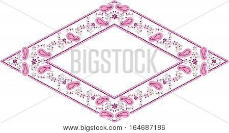 Scalable vectorial image representing a floral frame paisley diamond, isolated on white.
