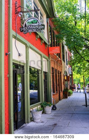 Asheville NC, USA - September 12: The Foggy Montain Brew Pub in downtown Asheville NC