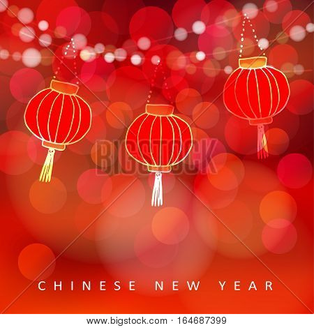 Chinese new year card with paper lanterns and glittering lights. Party decoration. Modern vector illustration with red blurred bokeh background