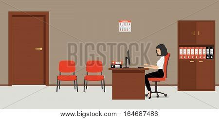 Web banner of an office worker. The young woman is an employee at work. There is a brown furniture, red chairs, a case for documents and other objects in the picture. Vector flat illustration.