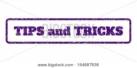 Indigo Blue rubber seal stamp with Tips and Tricks text. Vector tag inside rounded rectangular frame. Grunge design and unclean texture for watermark labels. Horisontal emblem on a white background.