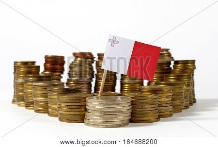 Malta Flag Waving With Stack Of Money Coins