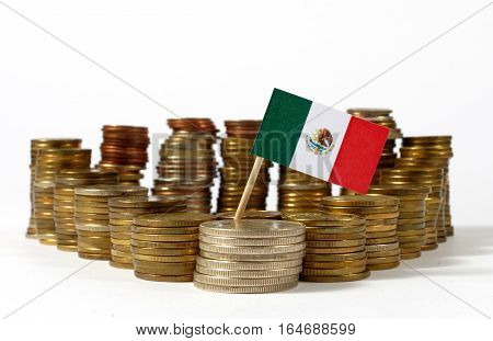 Mexico Flag Waving With Stack Of Money Coins