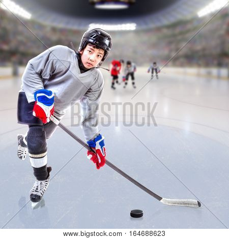 Junior Ice Hockey Player In Crowded Arena