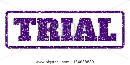 Indigo Blue rubber seal stamp with Trial text. Vector message inside rounded rectangular shape. Grunge design and scratched texture for watermark labels. Horisontal sign on a white background.