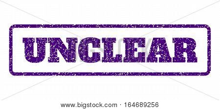 Indigo Blue rubber seal stamp with Unclear text. Vector tag inside rounded rectangular banner. Grunge design and scratched texture for watermark labels. Horisontal emblem on a white background.