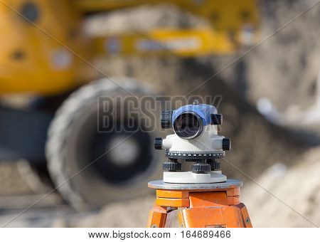 Theodolite At Construction Site