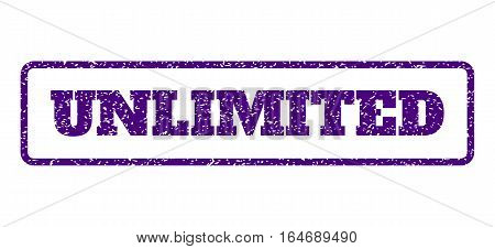 Indigo Blue rubber seal stamp with Unlimited text. Vector caption inside rounded rectangular frame. Grunge design and dirty texture for watermark labels. Horisontal emblem on a white background.