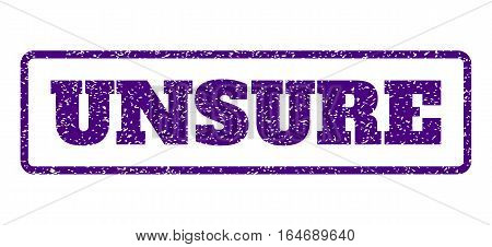 Indigo Blue rubber seal stamp with Unsure text. Vector message inside rounded rectangular banner. Grunge design and dirty texture for watermark labels. Horisontal sticker on a white background.
