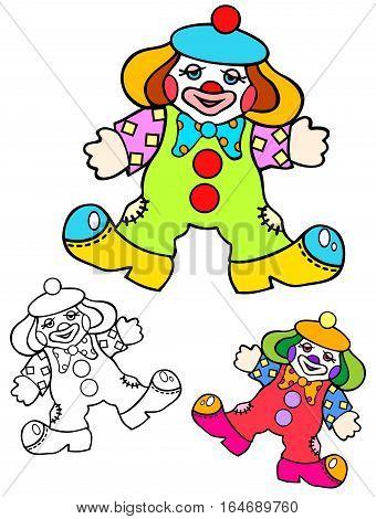 Colorful toy, a weird little patchwork clown