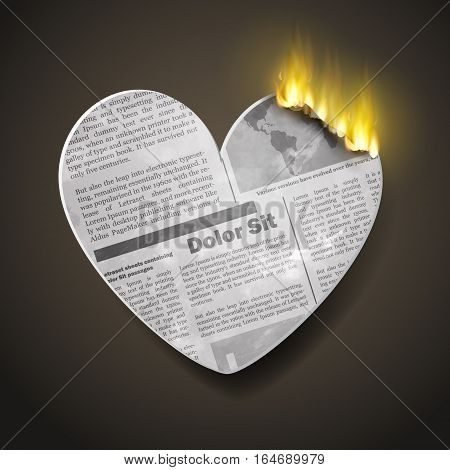 burning newspaper hear for Valentines day with fire