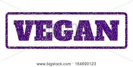 Indigo Blue rubber seal stamp with Vegan text. Vector caption inside rounded rectangular banner. Grunge design and dust texture for watermark labels. Horisontal sticker on a white background.