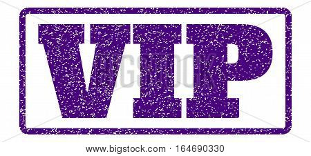 Indigo Blue rubber seal stamp with Vip text. Vector message inside rounded rectangular shape. Grunge design and dirty texture for watermark labels. Horisontal sign on a white background.