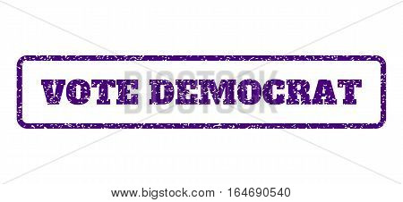 Indigo Blue rubber seal stamp with Vote Democrat text. Vector caption inside rounded rectangular shape. Grunge design and dust texture for watermark labels. Horisontal sign on a white background.