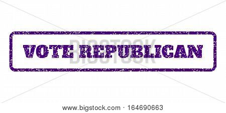 Indigo Blue rubber seal stamp with Vote Republican text. Vector caption inside rounded rectangular shape. Grunge design and dirty texture for watermark labels. Horisontal emblem on a white background.