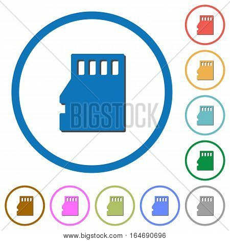 Micro SD memory card flat color vector icons with shadows in round outlines on white background