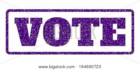 Indigo Blue rubber seal stamp with Vote text. Vector caption inside rounded rectangular banner. Grunge design and unclean texture for watermark labels. Horisontal sign on a white background.
