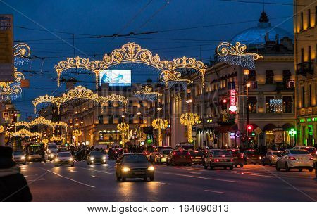 Saint Petersburg, Russia - December 25, 2016:  Busy Automobile Traffic On Nevsky Prospect