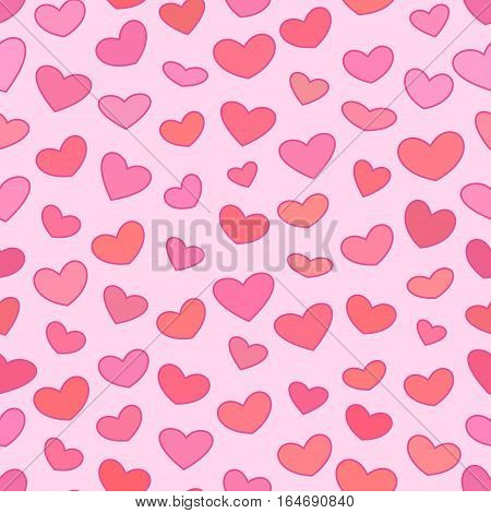 Seamless hearts with outline patten, Pink and red vector background for Saint Valentines Day