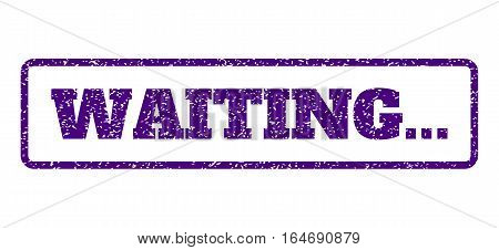 Indigo Blue rubber seal stamp with Waiting... text. Vector message inside rounded rectangular banner. Grunge design and scratched texture for watermark labels. Horisontal emblem on a white background.