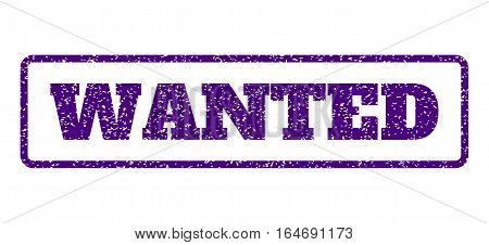 Indigo Blue rubber seal stamp with Wanted text. Vector message inside rounded rectangular shape. Grunge design and dust texture for watermark labels. Horisontal sign on a white background.