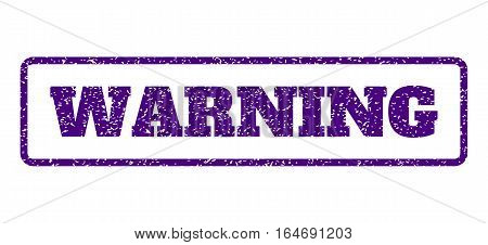 Indigo Blue rubber seal stamp with Warning text. Vector message inside rounded rectangular frame. Grunge design and scratched texture for watermark labels. Horisontal sign on a white background.