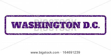 Indigo Blue rubber seal stamp with Washington D.C. text. Vector tag inside rounded rectangular shape. Grunge design and dust texture for watermark labels. Horisontal sign on a white background.