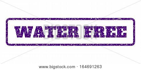 Indigo Blue rubber seal stamp with Water Free text. Vector message inside rounded rectangular shape. Grunge design and dust texture for watermark labels. Horisontal sticker on a white background.