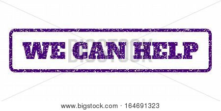 Indigo Blue rubber seal stamp with We Can Help text. Vector message inside rounded rectangular frame. Grunge design and dust texture for watermark labels. Horisontal emblem on a white background.