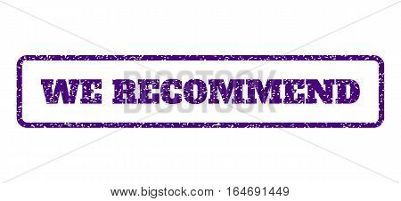 Indigo Blue rubber seal stamp with We Recommend text. Vector tag inside rounded rectangular frame. Grunge design and unclean texture for watermark labels. Horisontal sign on a white background.