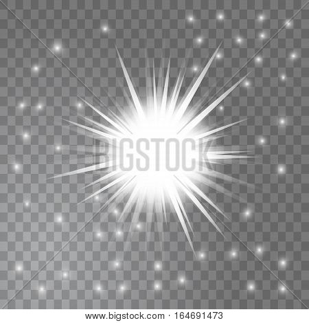 Bright glowing light sun burst and stars around it on transparent background. Glitter effect decoration with ray sparkles for your design. Vector illustration