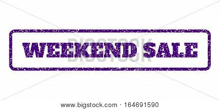 Indigo Blue rubber seal stamp with Weekend Sale text. Vector tag inside rounded rectangular frame. Grunge design and dirty texture for watermark labels. Horisontal sign on a white background.