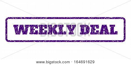 Indigo Blue rubber seal stamp with Weekly Deal text. Vector tag inside rounded rectangular frame. Grunge design and unclean texture for watermark labels. Horisontal sign on a white background.